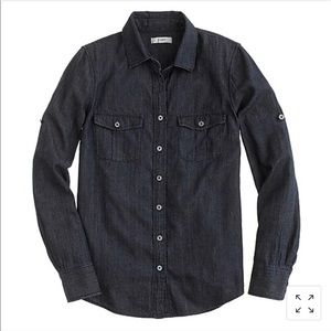 J Crew Keeper Chambray Shirt in Dark Rinse, 4 Tall